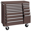 tool cabinets: Kennedy - 64314 Maint Cart 15 Drawer B.B Slides Brown