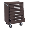 tool cabinets: Kennedy - Industrial Series Roller Cabinets, 27 X 18 X 39, 8 Drawers, Brown, W/Slide