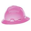 MSA V-Gard Protective Full Brim Hat, Fas-Trac III, 6 1/2 - 8, Hot Pink MSA 454-10156373