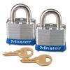 Master Lock No. 3 2-Pack Laminated Steel Pin Tumbler Padlocks, 9/32 Dia., 3/4 L X 5/8 W MLK 470-3-T