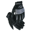 Caiman Synthetic Leather Palm Gloves W/ Full Knckl Protctn, Large, Blk/Slvr ORS 607-2952-L