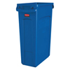 Rubbermaid Commercial Slim Jim With Venting Channels, 23 Gal, Resin, Blue RCP 640-1956185