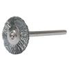 Weiler Miniature Stem-Mounted Wheel Brush, 3/4 In Dia., 0.005 In Brass Wire, 37,000 RPM WEI 804-26003