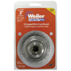 Weiler Vortec Pro Crimped Wire Cup Brush, 3 Dia, 5/8-11, 0.014 Carbon Steel, Display WEI 804-36031