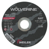 Weiler Wolverine Thin Cutting Wheels, 4 1/2 In X .045 In, 60 Grit, T, Aluminum Oxide WEI 804-56281