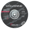 Weiler Wolverine Grinding Wheels, 9 In Dia, 1/4 In Thick, 5/8 In Arbor, 24 Grit, R WEI 804-56470
