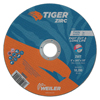 Weiler Tiger Zirc Thin Cutting Wheels, 6 In Dia, .045 Thick, 7/8 In Arbor, Grit 60 WEI 804-58002