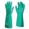 SHOWA Nitrile Disposable Gloves, Gauntlet Cuff, Unlined Lined, Size 9/Large, Green SHA 845-727-09