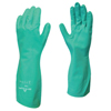 SHOWA Flock-Lined Nitrile Disposable Gloves, Gauntlet Cuff, Size 7/Small, Green SHA 845-730-07