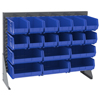 Media Organizers Media Sleeves Panels: Akro-Mils - Single-Sided Low Profile Louvered Floor Rack with Blue Bins