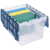Akro-Mils Plastic Storage Hanging File Boxes with Attached Lids AKR 66486FILEB CS