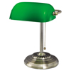 Alera Traditional Bankers Lamp, Green Glass Shade, Antique Brass Base, 14h ALE LMP557AB