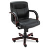 chairs & sofas: Alera® Madaris Series Mid-Back Swivel/Tilt Leather Chair with Wood Trim
