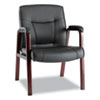 chairs & sofas: Alera® Madaris Series Leather Guest Chair with Wood Trim Legs