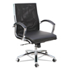 meshchairs: Neratoli Mid-Back Slim Profile Chair, Black, Leather/Mesh