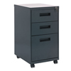Filing cabinets: Three-Drawer Metal Pedestal File, 14 7/8w x 19-1/8d x 27-3/4h, Charcoal