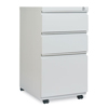 Filing cabinets: Three-Drawer Pedestal File With Full-Length Pull, 14 7/8 x 19 1/8, Light Gray