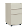 Filing cabinets: Three-Drawer Metal Pedestal File With Full-Length Pull, 14 7/8w x 19 1/8d, Putty