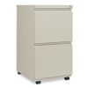 Filing cabinets: Two-Drawer Metal Pedestal File With Full-Length Pull, 14 7/8w x 19 1/8d, Putty