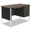 Desks & Workstations: Single Pedestal Steel Desk, Metal Desk, 45-1/4w x 24d x 29-1/2h, Walnut/Black