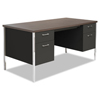 Desks & Workstations: Double Pedestal Steel Desk, Metal Desk, 60w x 30d x 29-1/2h, Walnut/Black