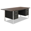 Alera Double Pedestal Steel Desk, Metal Desk, 72w x 36d x 29-1/2h, Walnut/Black ALE SD7236BM