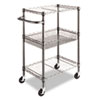 Janitorial Carts, Trucks, and Utility Carts: Alera® Wire Shelving Three-Tier Rolling Cart