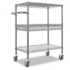 utility carts, trucks and ladders: Alera® Wire Shelving Three-Tier Rolling Cart