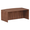 Desks & Workstations: Valencia Series Bow Front Desk Shell, 71 x 41 3/8 x 29 5/8, Mod Walnut