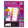 Binder Accessories Sheet Hole Reinforcements: Avery® Ready Index® Contemporary Multicolor Table of Contents Dividers