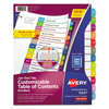 Avery Avery® Ready Index® Customizable Table of Contents Multicolor Dividers AVE 11847