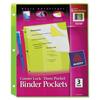 Binder Accessories Binder Dividers: Avery® Corner Lock™ 3-Pocket Binder Pockets