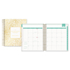 Blue Sky Day Designer Daily/Monthly Planner, 10 x 8, Gold/White, 2019 BLS103621