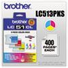 Brother Brother LC513PKS Innobella Ink, 400 Pg-Yld, Cyan, Magenta, Yellow, 3/Pk BRT LC513PKS