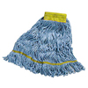 Carlisle Premium Small Blue Yarn Mop Heads with Yellow Band CFS 369442B14CS