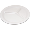 "Carlisle Durus® Melamine Narrow Rim 3-Compartment Plate 10.5"" - Bone CFS 4300042CS"