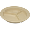 "Carlisle Dallas Ware® Melamine 3-Compartment Deep Plate 9"" - Tan CFS 4351625CS"