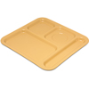 "Carlisle 4-Compartment Tray 10-1/8"", 9-25/32"", 1/2"" - Honey Yellow CFS 4398422CS"
