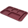 "Carlisle Tray 6 Compartment Right Hand 14.5"" x 10"" - Dark Cranberry CFS 4398885CS"