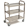 Janitorial Carts, Trucks, and Utility Carts: Carlisle - 3 Shelf Knockdown Stainless Steel Utility Cart