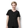 WonderWink Womens Short Sleeve Snap Jacket CID 200A-BLAC-LG