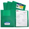 C-Line Products 2-Pocket Heavyweight Poly Portfolio Folder w/Prongs, Green CLI 33963BNDL12EA