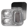 Ring Panel Link Filters Economy: 3-Section Foil Pan with Board Lid, 8 1/2w x 6 3/8d x 1 23/32h, Silver, 250/CT