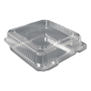 plastic containers: Plastic Clear Hinged Containers, 8 5/8w x 3d, Clear, 200/Carton
