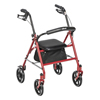 Drive Medical Four Wheel Walker Rollator with Fold Up Removable Back Support 10257RD-1