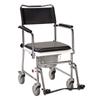 Drive Medical Portable Upholstered Wheeled Drop Arm Bedside Commode 11120SV-1