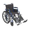 Drive Medical Blue Streak Wheelchair with Flip Back Desk Arms, Elevating Leg Rests, 16 Seat BLS16FBD-ELR