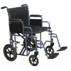 Drive Medical Bariatric Heavy Duty Blue Transport Wheelchair w/Swing Away Footrest, 1EA/CS BTR22-B
