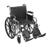 Drive Medical Chrome Sport Wheelchair w/Detachable Desk Arms & Elevating Leg Rest CS16DDA-ELR