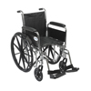 Drive Medical Chrome Sport Wheelchair w/Detachable Full Arms & Swing Away Footrest CS16DFA-SF